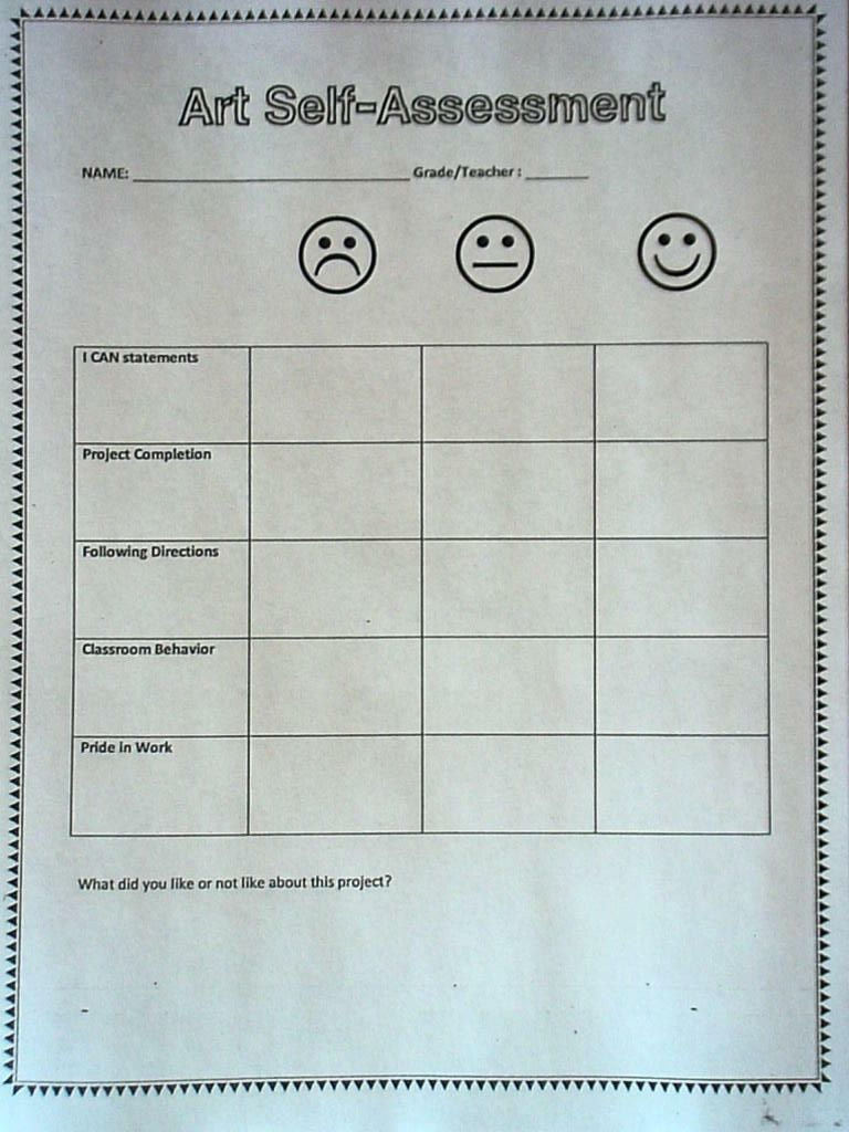Yes, assessment. How do we assess students in the elementary art ...