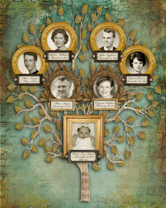 Grey Album Cardboard Art Paper Texture Bright Rough: Custom Family Tree With Photos Seven By CreativeFamilyTree
