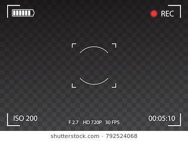 Vector Black transparent camera rec interface viewfinder