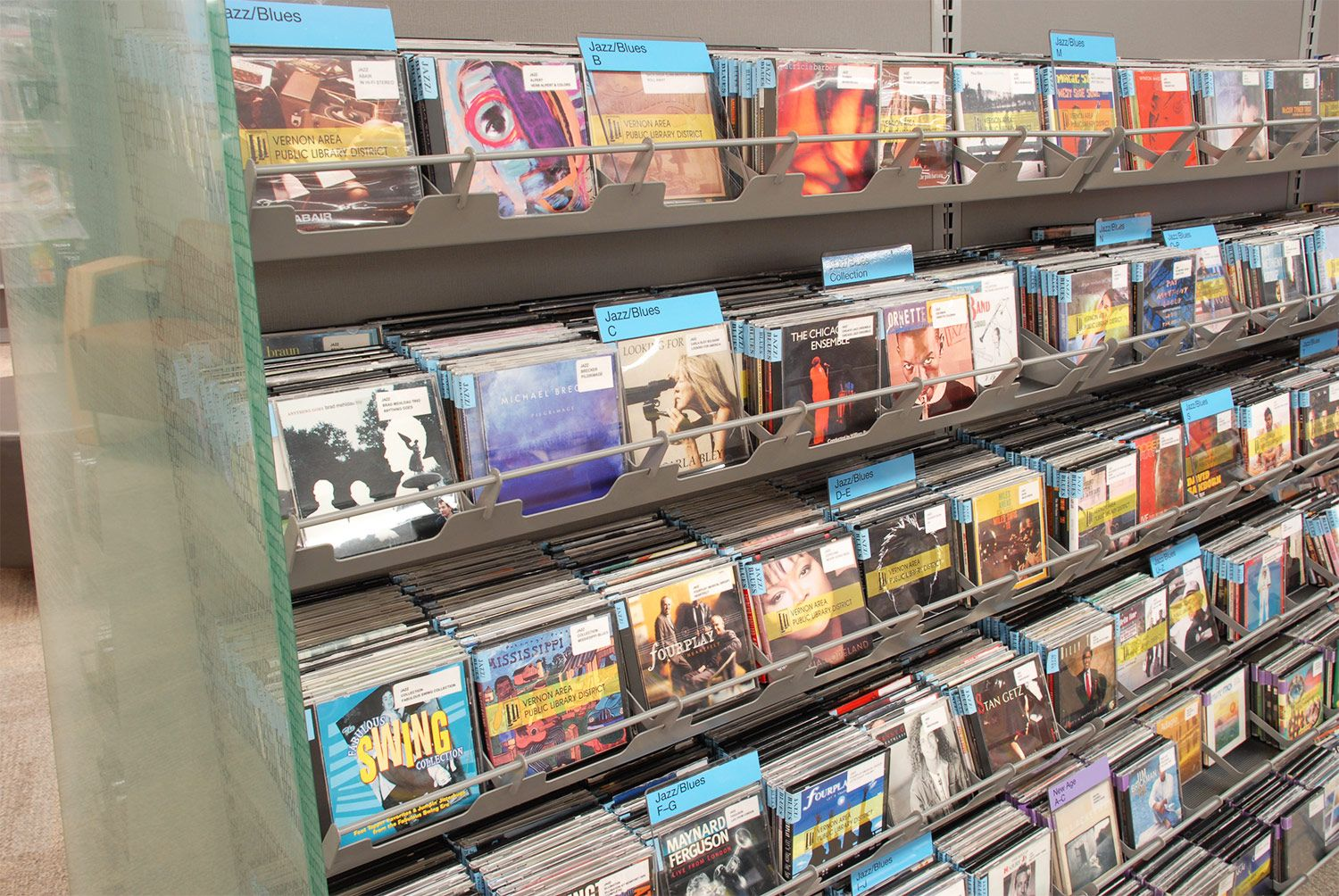 LFI install of CD/DVD Shelving - Divider Browsing Bins - Wauconda Area Public Library