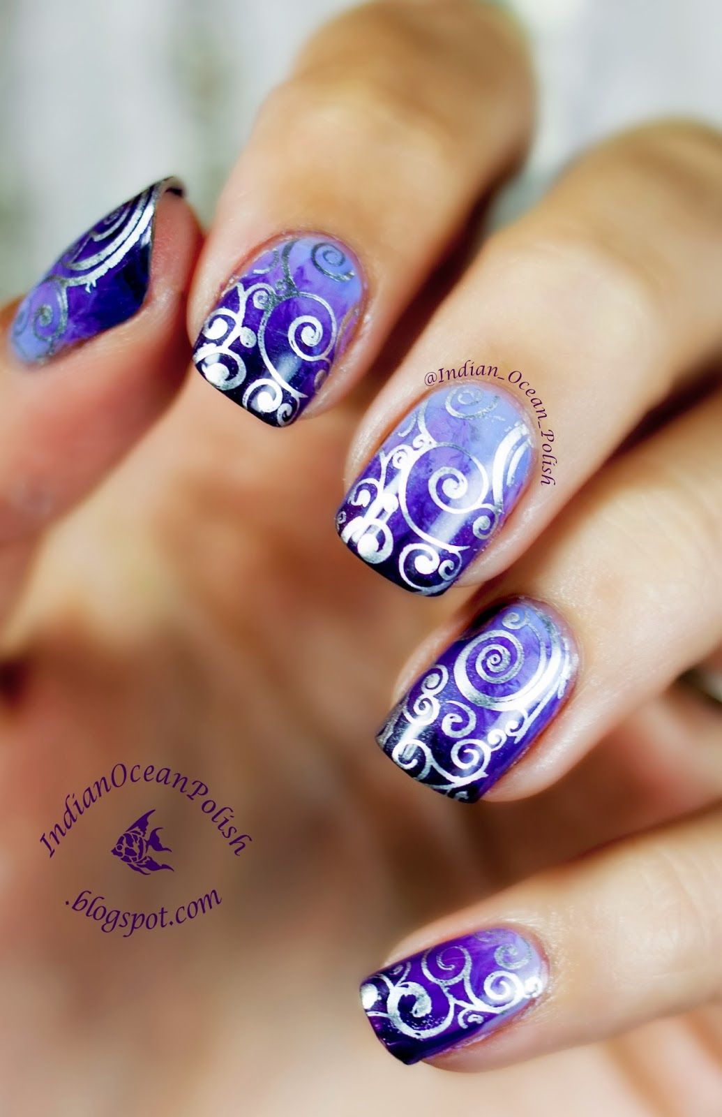 Purple Marbled Gradient with MoYou Suki 07 Stamped Swirls | Nail ...