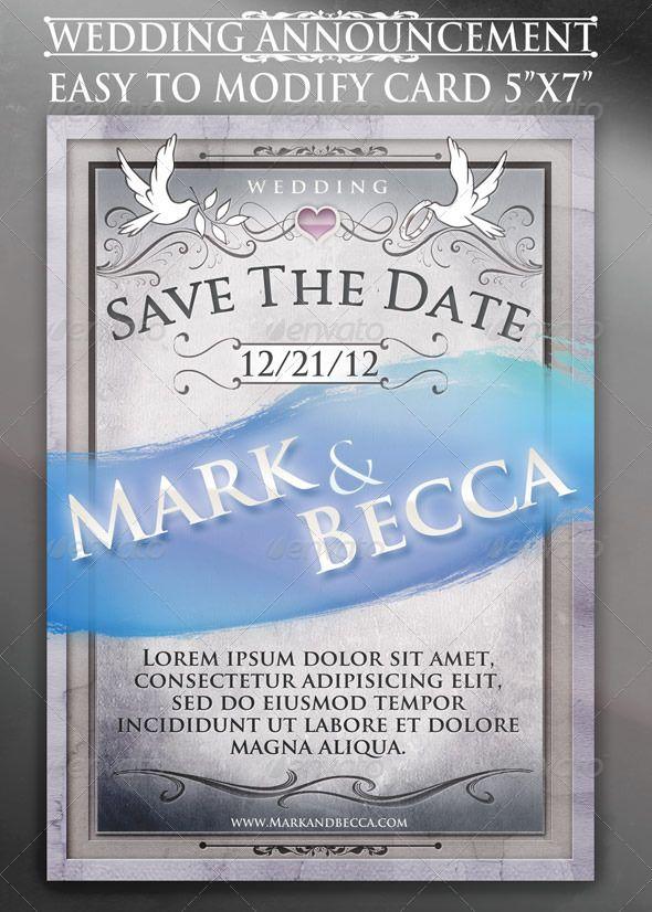 Wedding Announcement Card Template Card templates, Print - wedding announcement template
