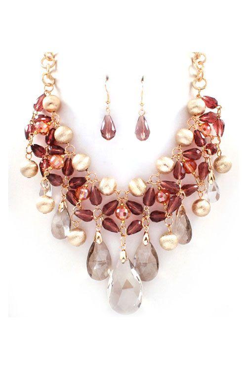 a99d2598e902 Crystal Dakota Necklace in Vintage Rose