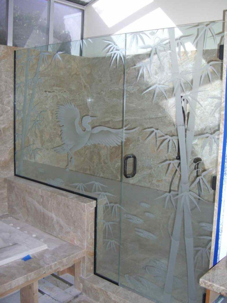 Bamboo Egret Glass Shower Etched Glass Asian Style Etched Glass Art