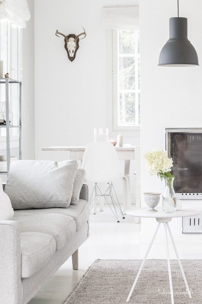 All white interior with a white Key side table by One Nordic. Via Talosanomat.   Scandinavian inspiration