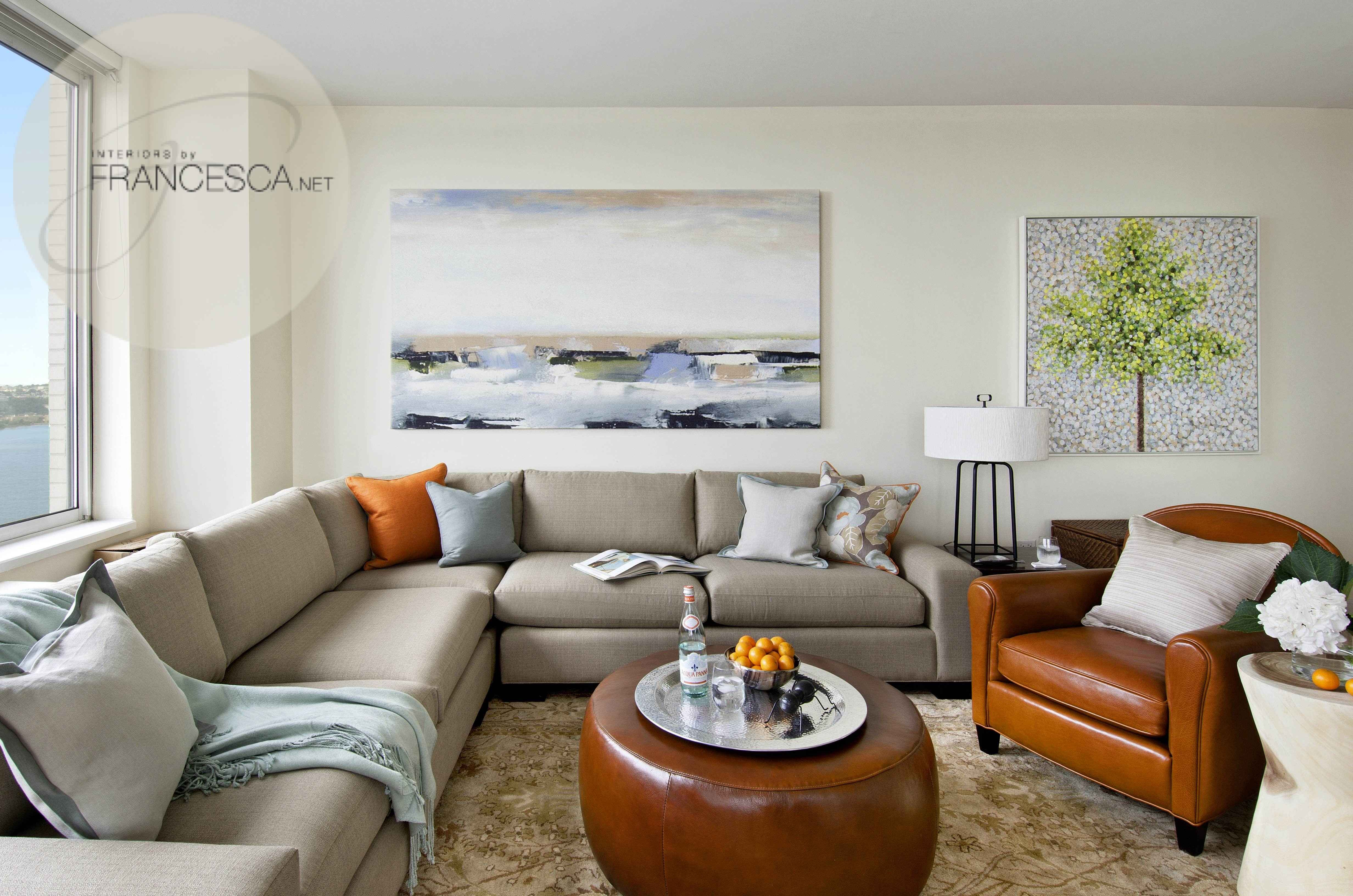 Cool, calm and collected living room, sectional sofa, coastal chic ...
