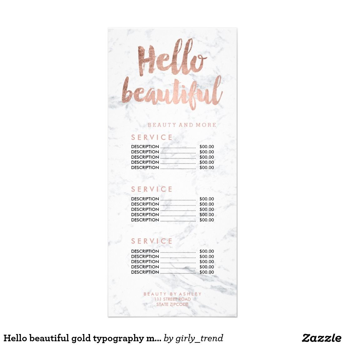 Hello beautiful gold typography marble price list rack card hello beautiful gold typography marble price list rack card colourmoves