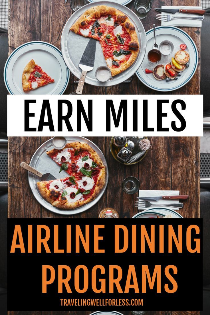 You can earn lots of frequent flyer miles without flying. Simply by doing something you're already doing. Click through to learn more about how to earn airline miles for free flights with airline dining programs. | airline dining program | rewards network | travel hacking | travel hacks | earn frequent flyer miles | earn airline miles without flying | #travelwell4less