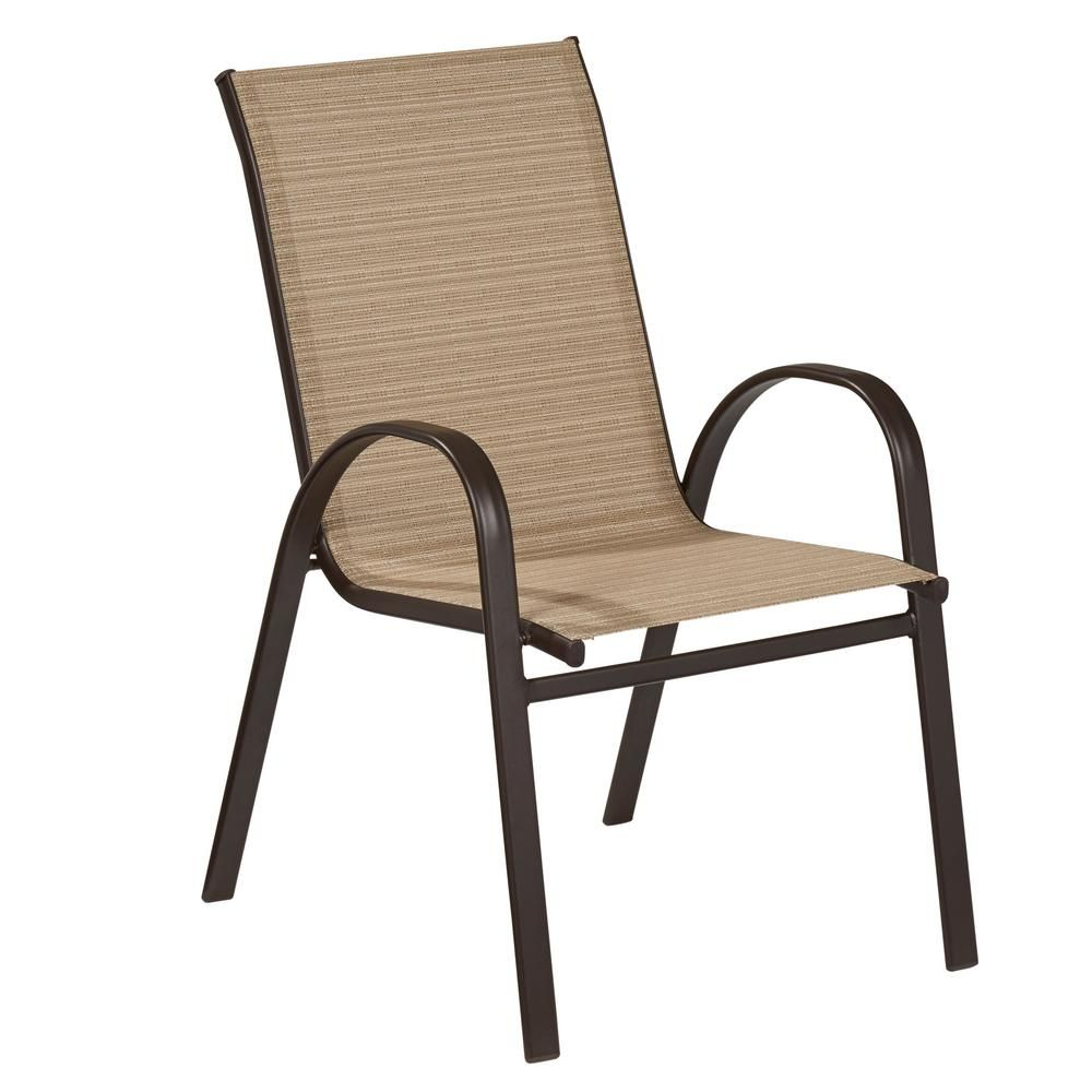 Hampton Bay Mix And Match Stackable Sling Outdoor Dining Chair In Cafe