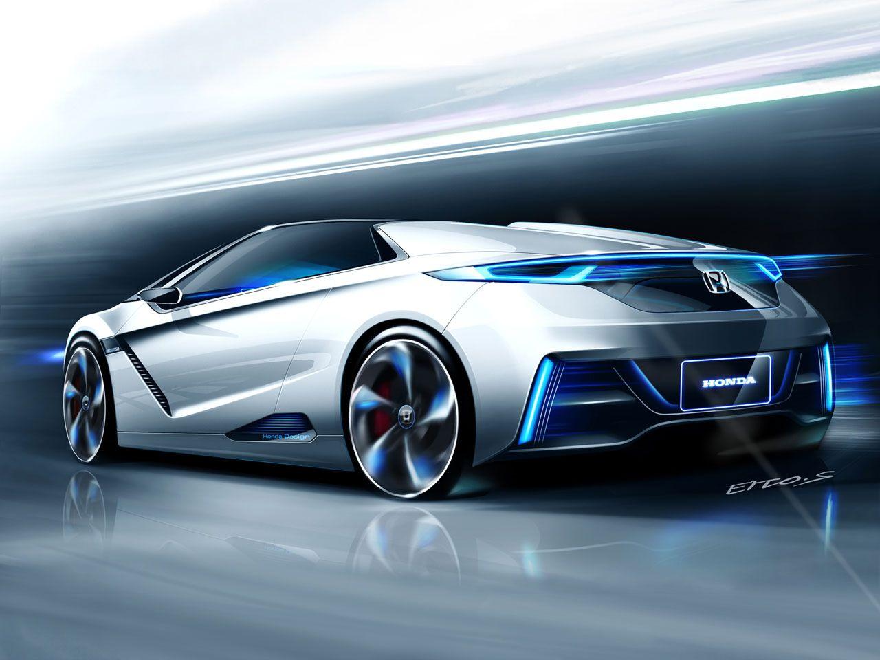 Honda Small Sports Ev Concept Futuristic Car Neon Light Future