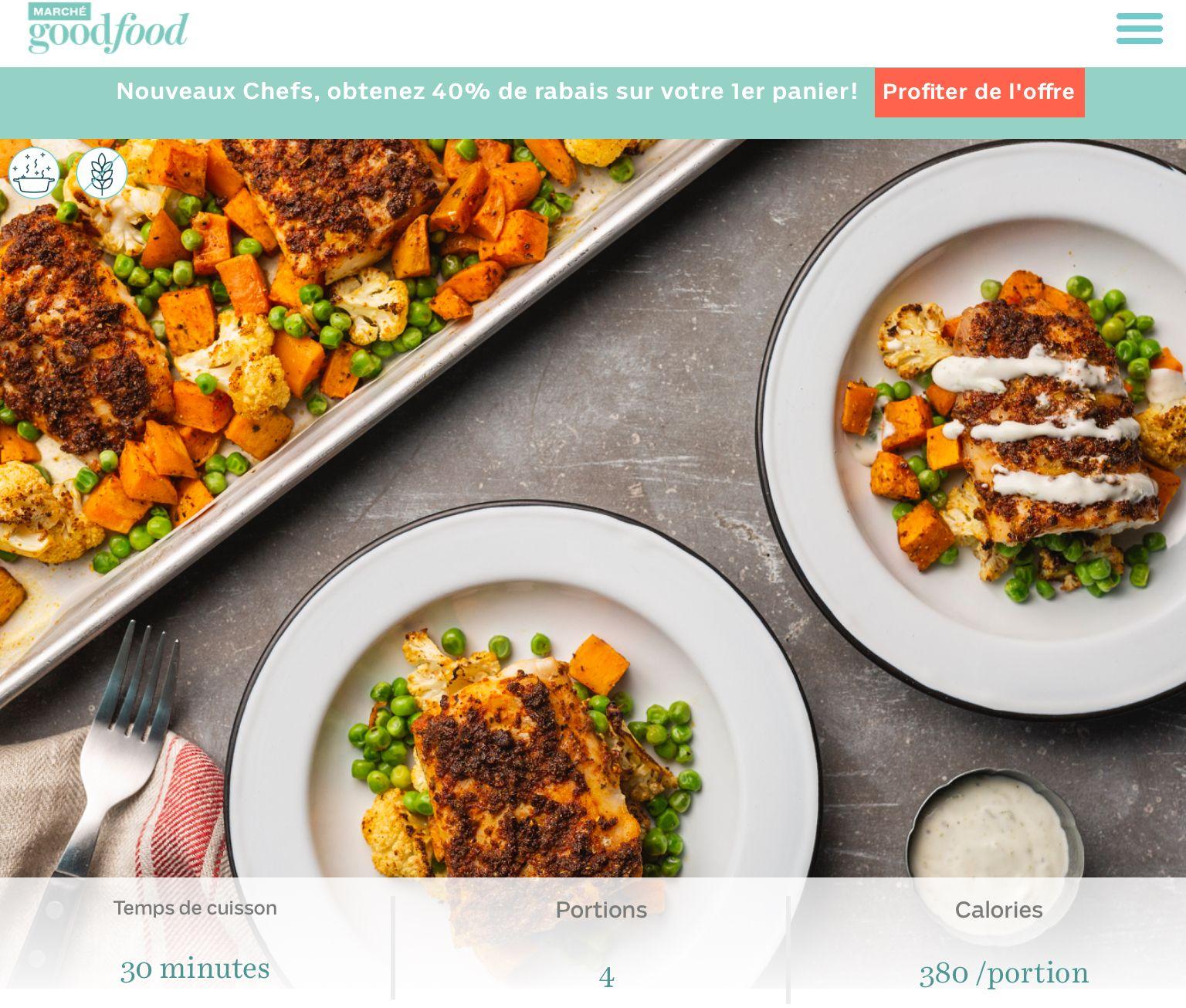 Goodfood Aiglefin Miel Tandoori A La Plaque Avec Chou Fleur Patates