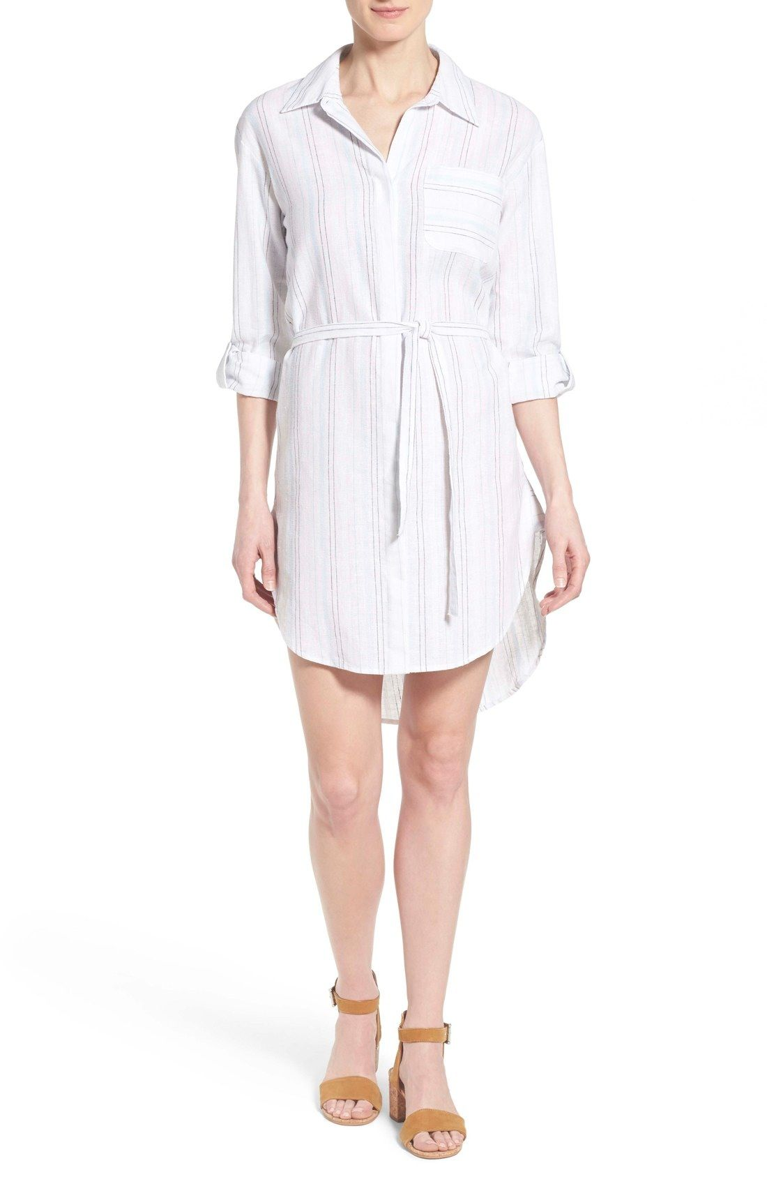 faa98599249 Two by Vince Camuto Stripe Linen Blend Shirtdress available at  Nordstrom