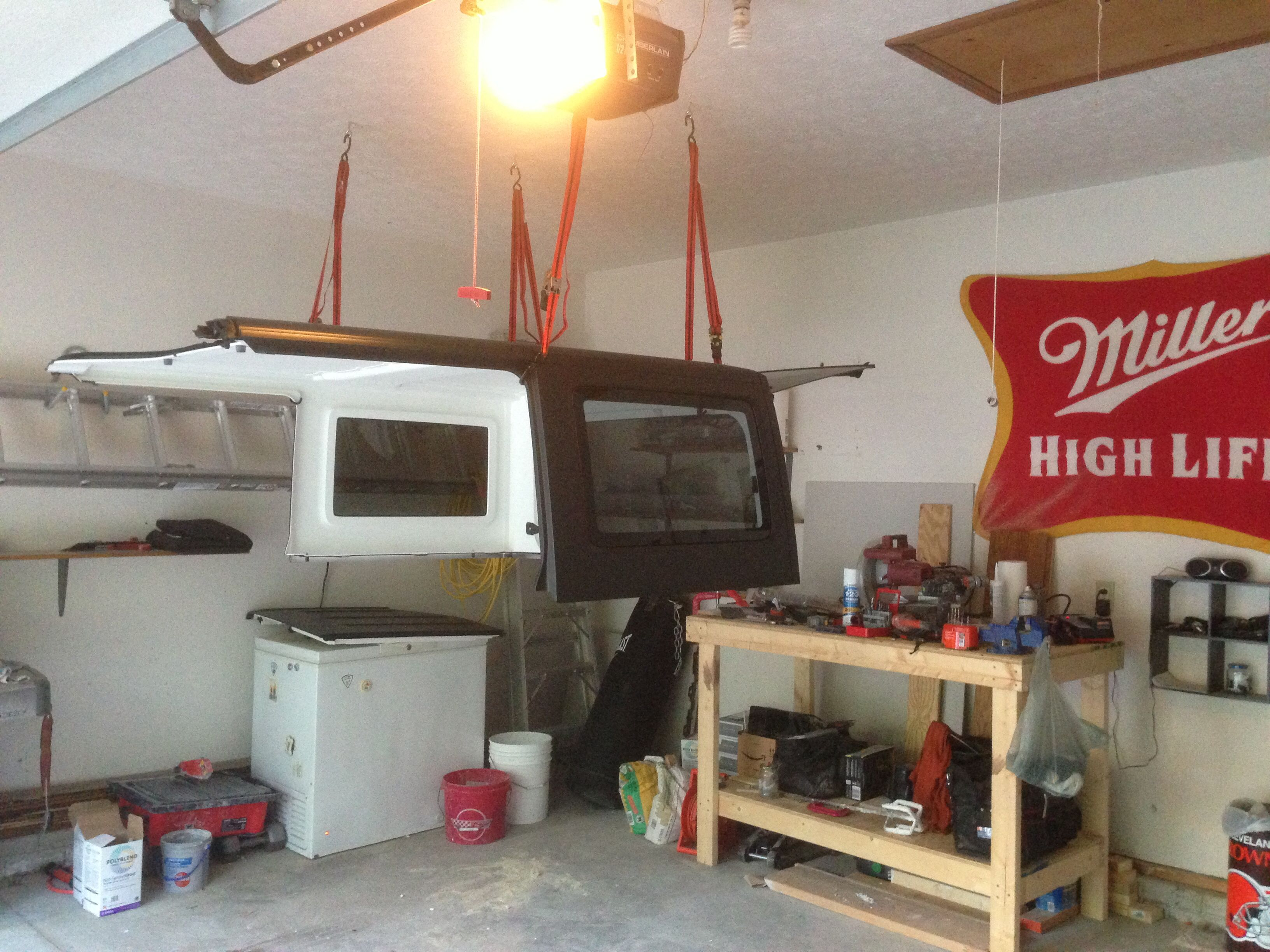 Ratcheting Straps Garage Set Up To Remove Jeep Wrangler Hard Top