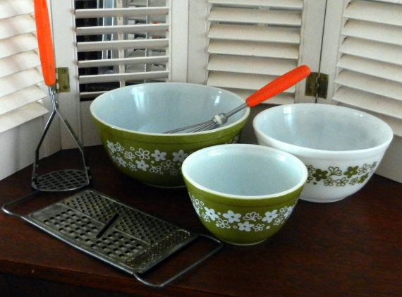 3 Vintage Spring Blossom Crazy Daisy Pyrex by happenstanceNwhimsy, $24.00