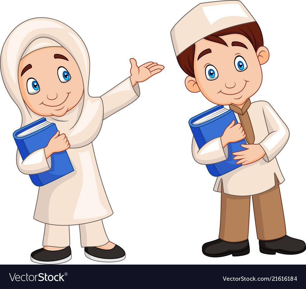 Illustration Of Cartoon Muslim Kids Download A Free Preview Or High Quality Adobe Illustrator Ai Eps Pdf And Kartun Ilustrasi Karakter Gambar Animasi Kartun