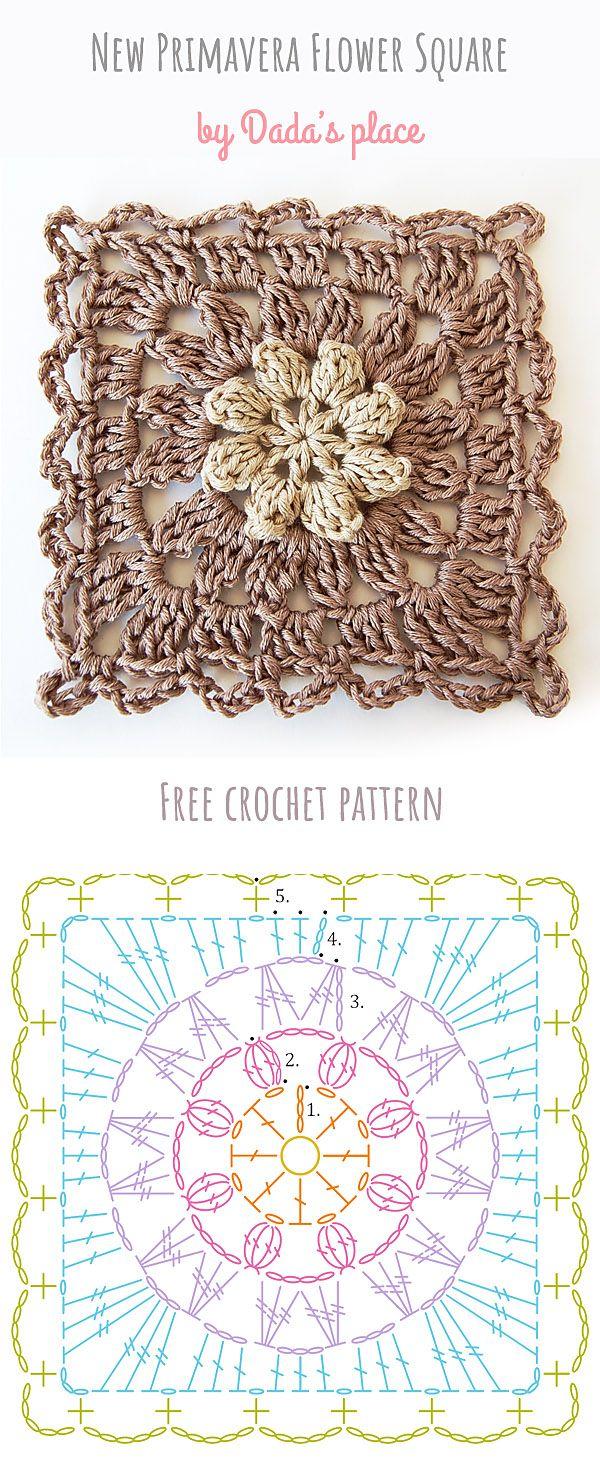 Primavera Flower Square Free Crochet Pattern