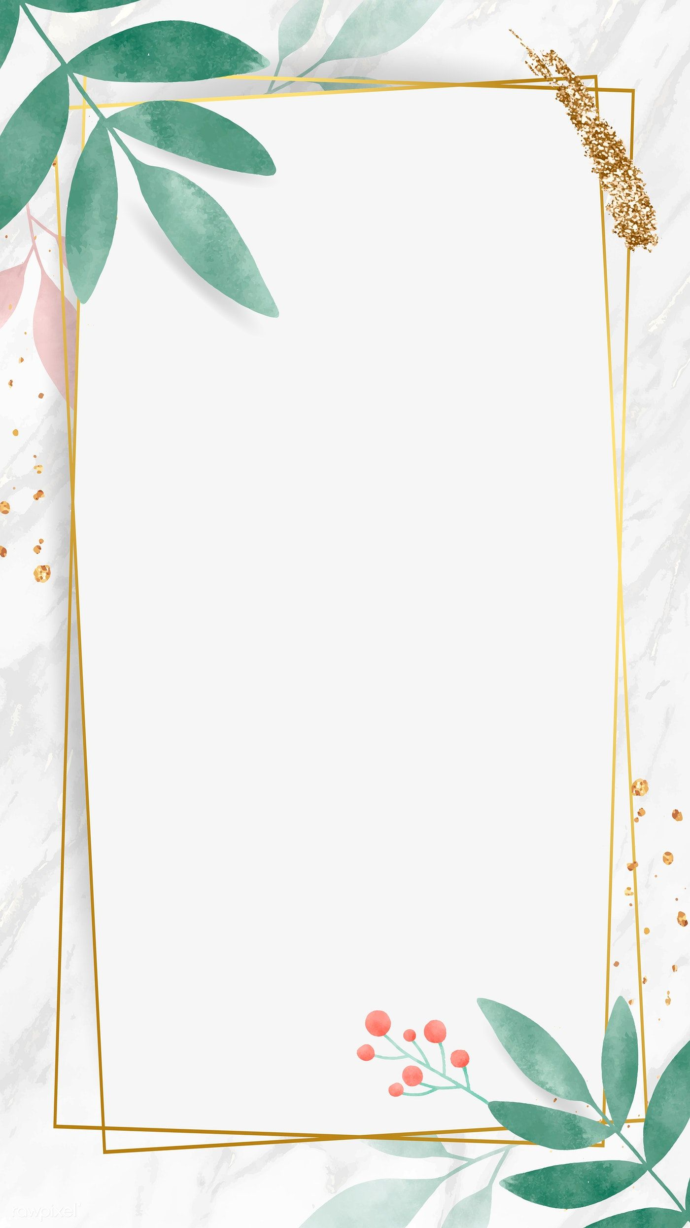 Watercolor Leafy Frame Mobile Phone Wallpaper Vector Premium Image By Rawpixel Com Toon Flower Background Wallpaper Framed Wallpaper Wallpaper Vector