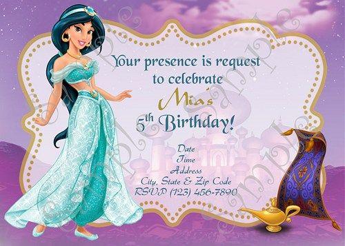 Princess Jasmine Invitation Jasmine Invitation Jasmine Birthday