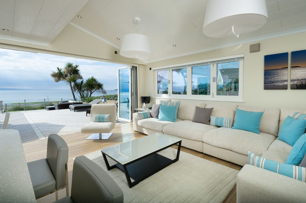Beach House Decorating Living Room Beach Style With Corner Sofa Bi Fold  Doors