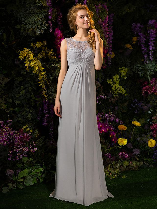 A Line Jewel Neck Sweep Brush Train Lace Georgette Bridesmaid Dress With Buttons Criss Cross By LAN TING BRIDER