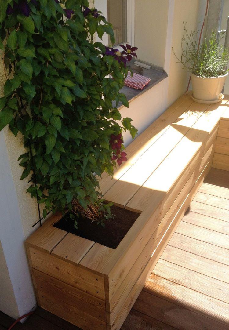 sitzbank mit pflanzgefäßen von nelka auf balkon | nelka | pinterest
