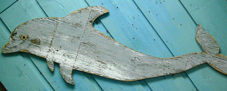 Dolphin Sign Wall Art Wood Wooden Beach House Decor Wooden