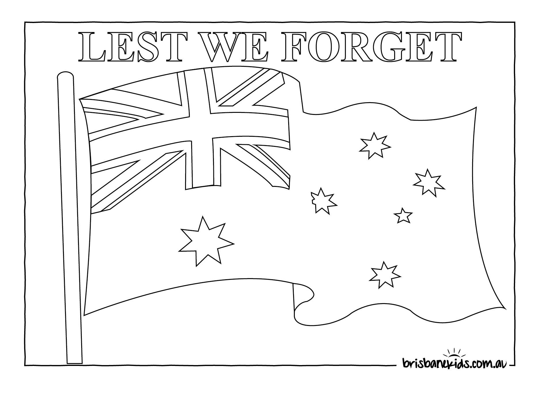 Anzac Day Colouring Pages Flag Coloring Pages Anzac Day Anzac