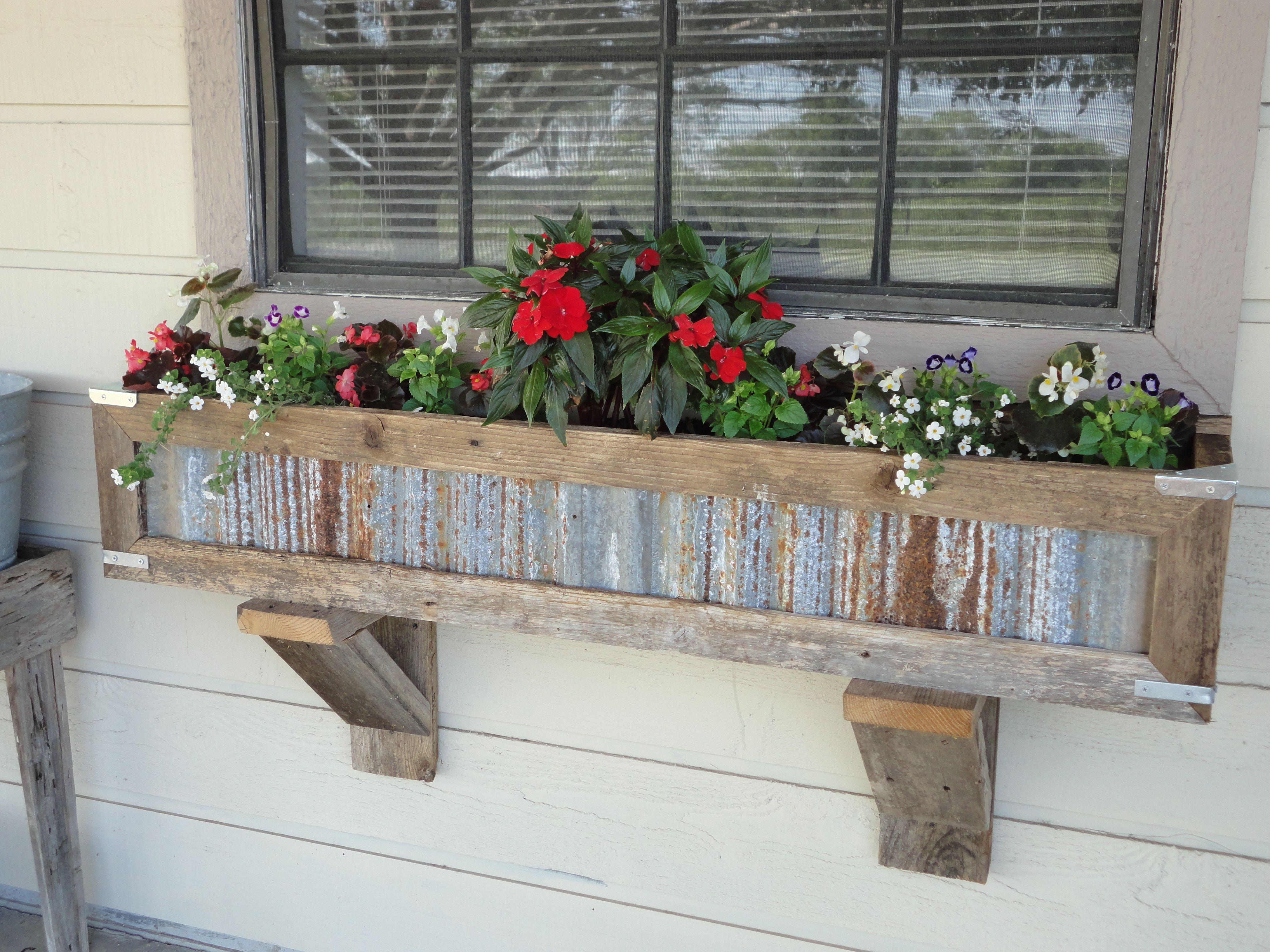 Handcrafted Rustic Window Box Planters out of reclaimed