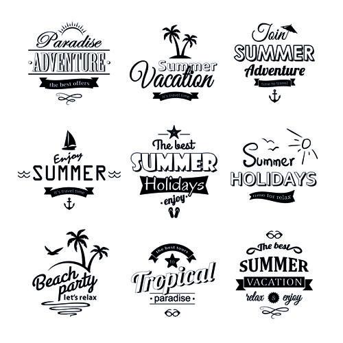 Black summer holiday labels vector 01 Minták, Rajzok