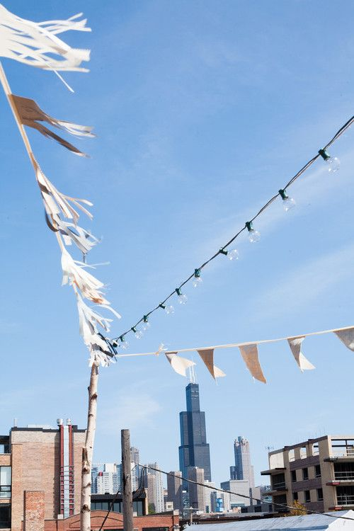 My handmade pennant flags and cafe lights - Chicago Love.