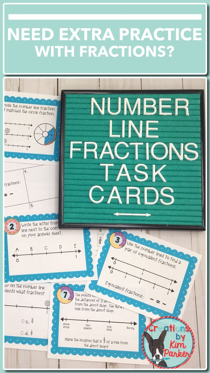 Fractions on a Number Line Task Cards | Number, Math and Students