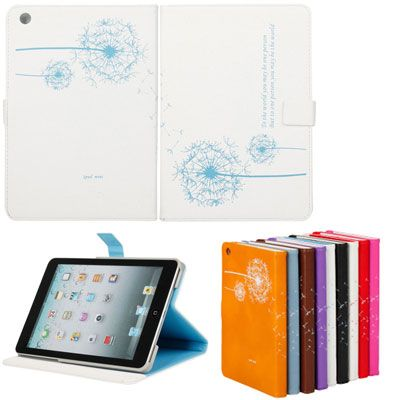 Lovely Dandelion Pattern PU Leather Case for iPad Mini White & Blue