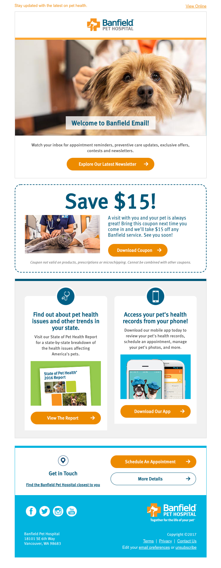 Banfield Pet Hospital Sent This Email With The Subject Line Welcome To Banfield Your Pet S Health Care Resource Welcome Emails Preventive Care Best Email