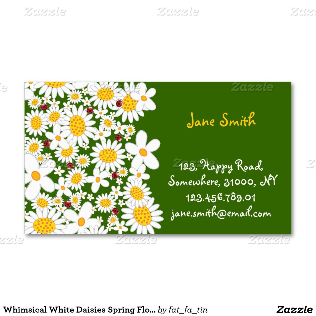 Whimsical White Daisies Spring Flowers Ladybugs Double-Sided ...