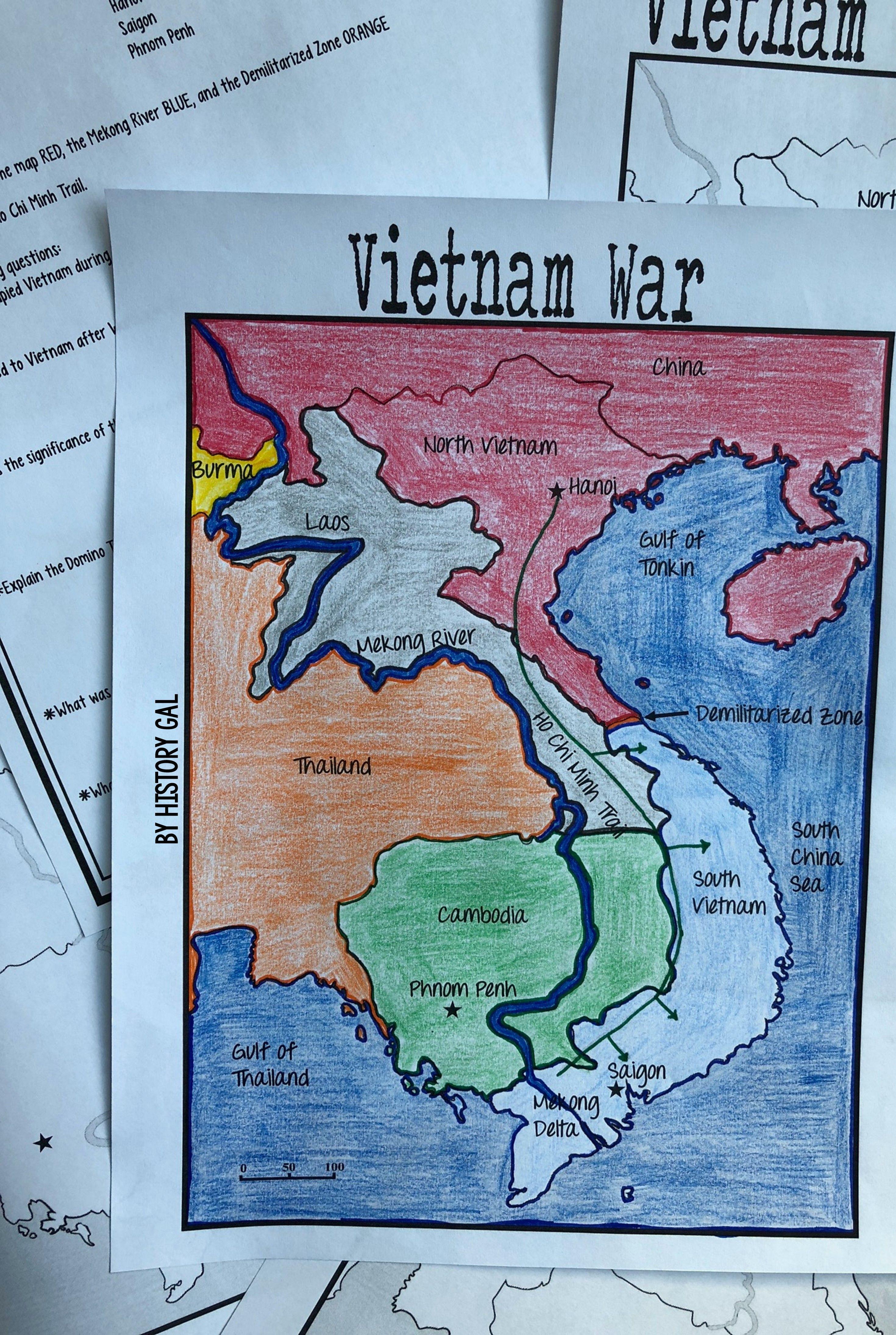 Vietnam War Map Activity - Help your high school 9th [ 4380 x 2940 Pixel ]