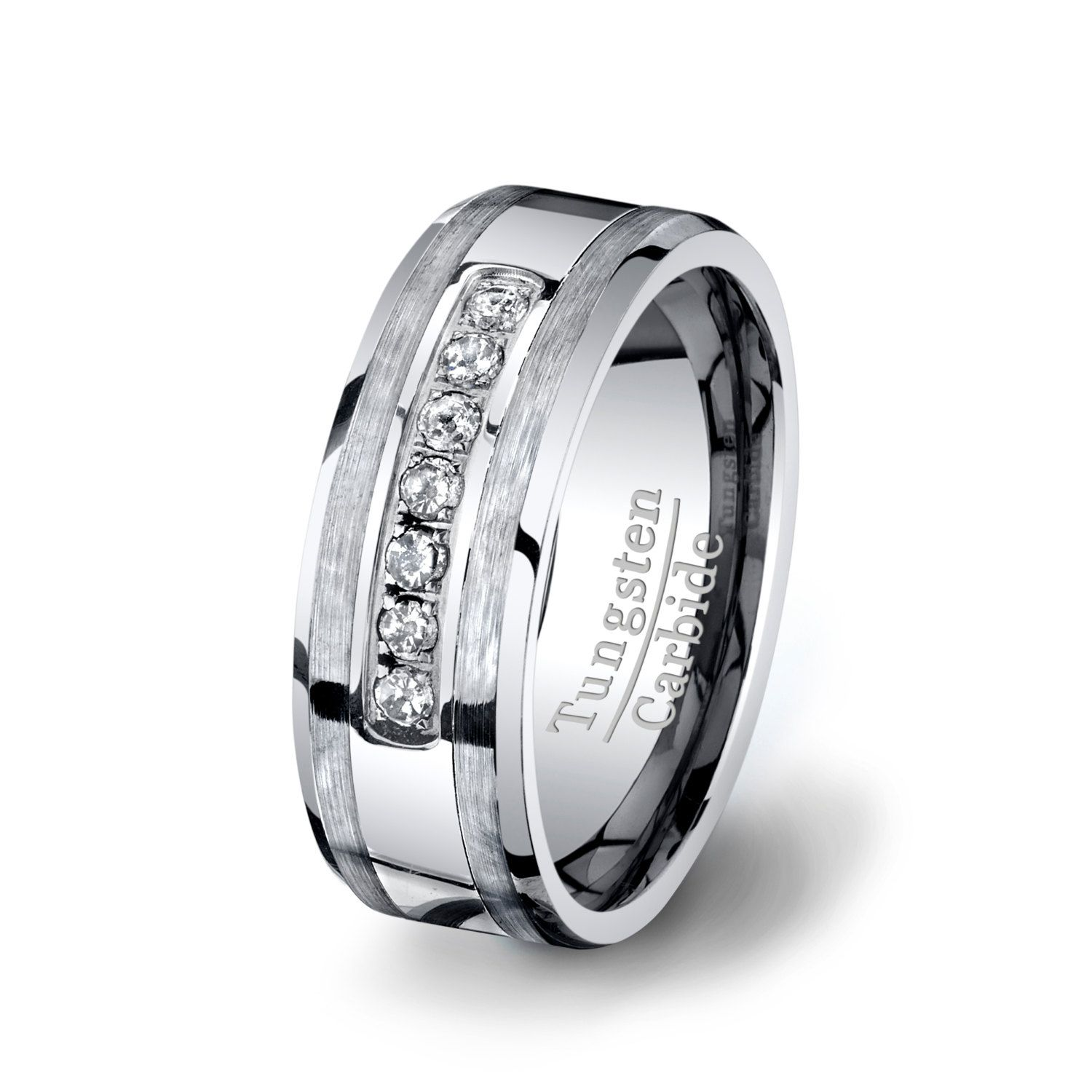 Mens Wedding Band 8mm Tungsten Ring with by TungstenOmega