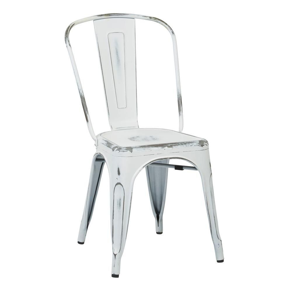 Office Star Bristow 4 Piece Metal Chair In Antique White   BRW29A4 AW   The Home  Depot