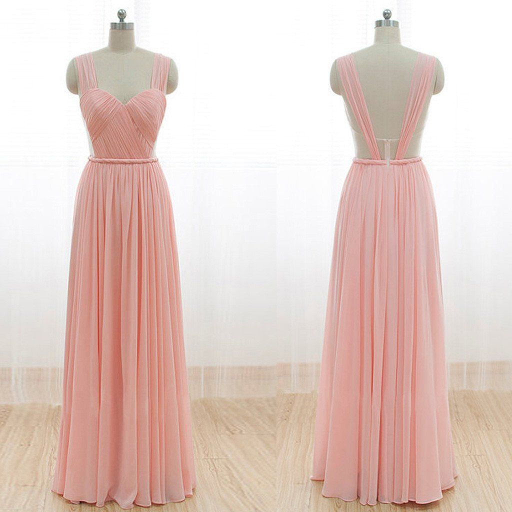 Cheap Junior Long Chiffon Pink Off Shoulder Sweet | 2018 Prom Dress ...