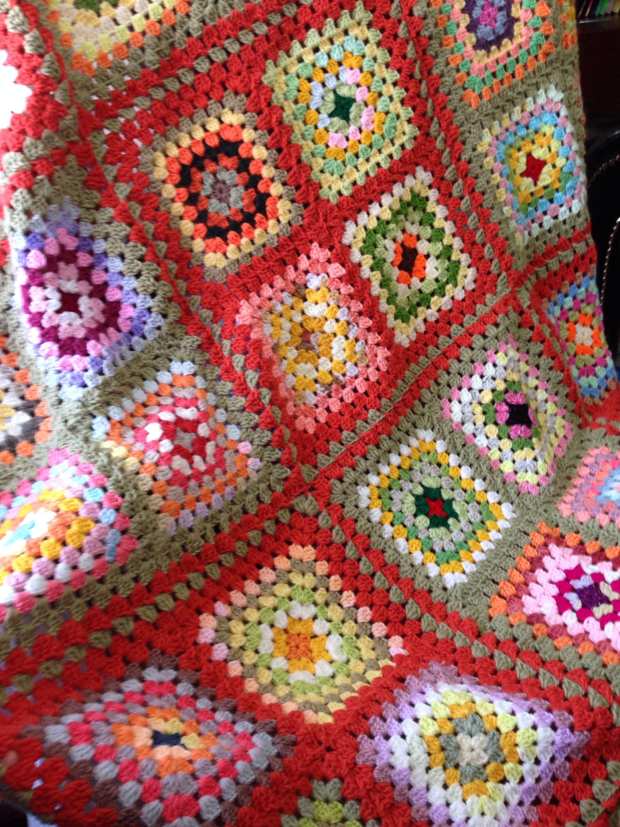 Multicolour granny square just finished , crochet , blanket ...