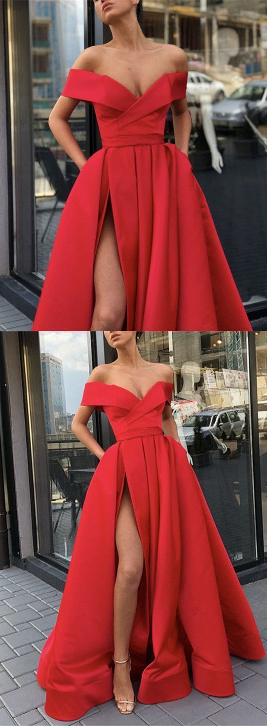 Long red satin split evening gowns off the shoulder prom dresses in