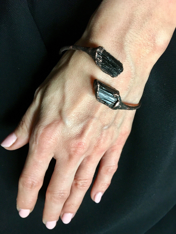Black Tourmaline Bracelet Electroformed Bracelet Copper Bracelet Tourmaline Bangle Double Stone Cuff Tourmaline Jewelry In 2020 Black Tourmaline Bracelet Tourmaline Bracelet Black Tourmaline