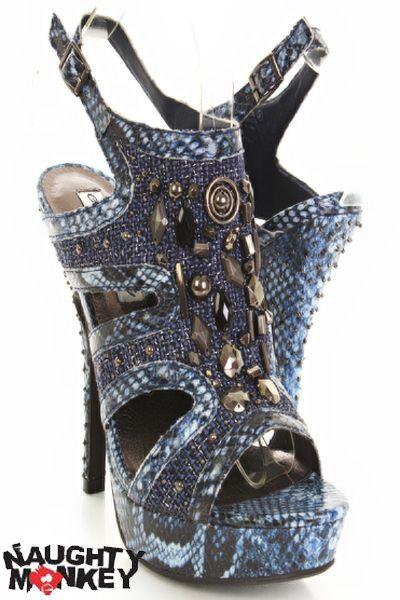Blue Snake Skin Print Faux Leather Beaded Open Toe Heels