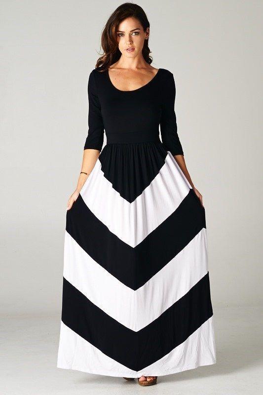 441eab6ee BLACK WHITE 3/4 SLEEVE CHEVRON COLOR BLOCK SOFT SILKY FLOWY MAXI DRESS M L  XL #AllAboutTheGirl #Maxi #Casual