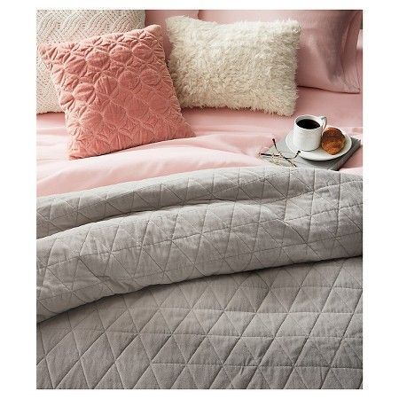 Perfect Vintage Wash Velvet Quilt (Full/Queen) Grey   Threshold