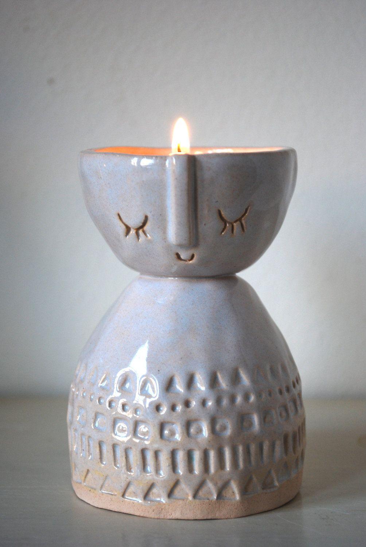 Medium lady ceramic candle holder or shallow vase in white glaze