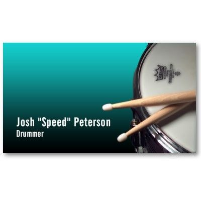 snare drum turquoise musician business card business card design