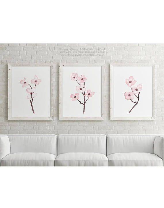 Toile cornouiller arbre fleurs Cherry Blossom rose lot de 3 - peinture chambre bebe fille
