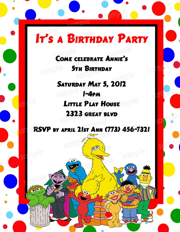 sesame street invitation - announcement PDF - DIY - Customized ...