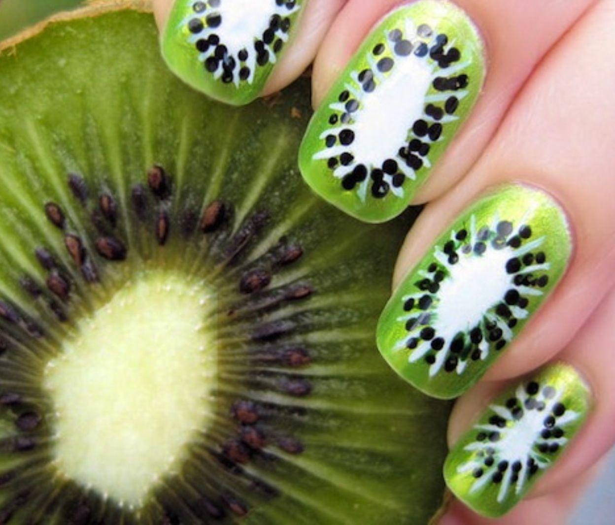 Kiwi nagels   nagels   Pinterest   Uñas diy, Bricolaje y Fruta