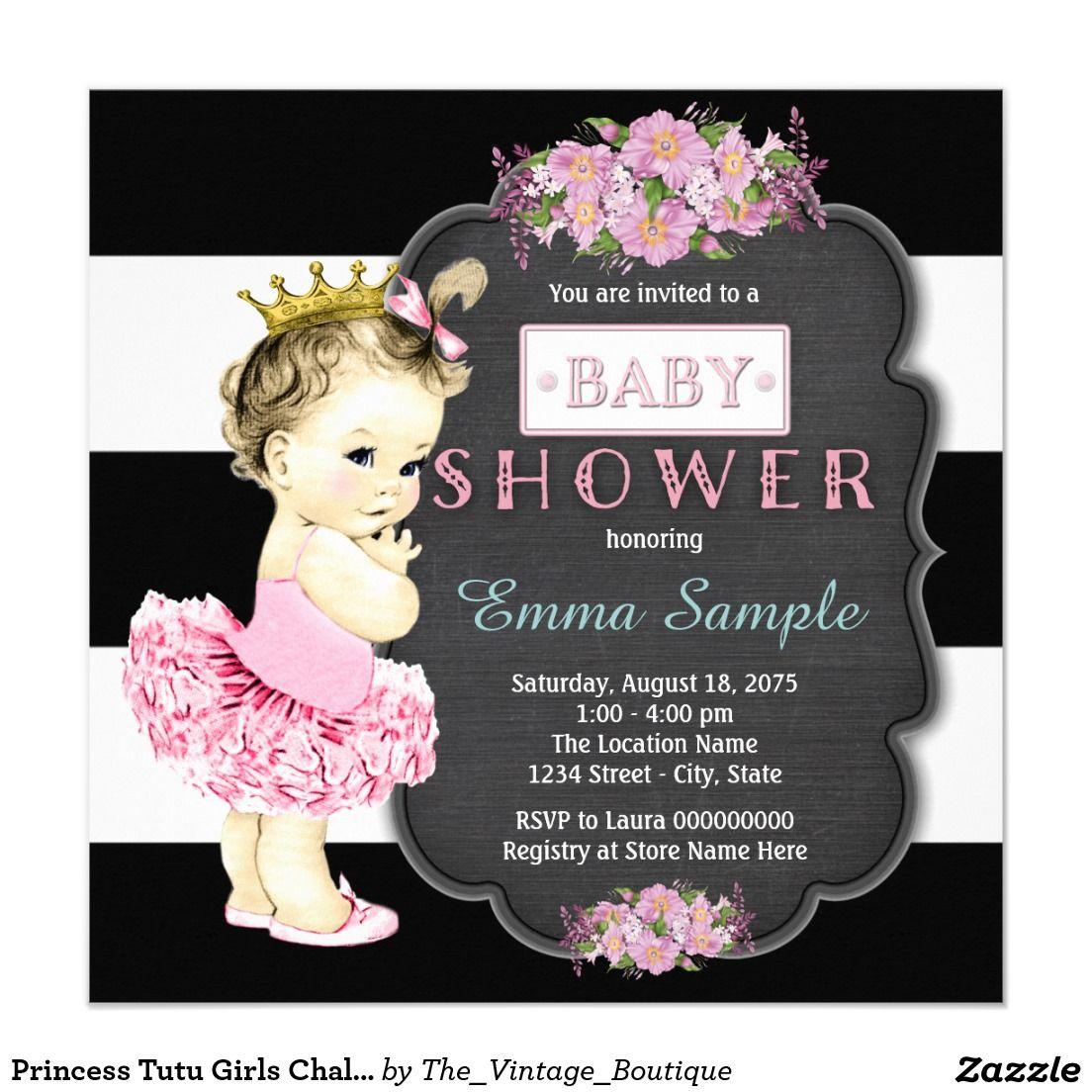 Princess Tutu Girls Chalkboard Baby Shower 5.25x5.25 Square Paper Invitation Card